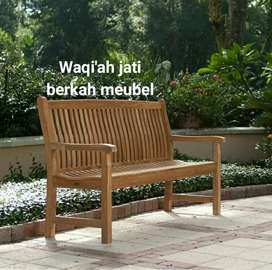 Bangkau santai taman minimalis, p. 180x60, bahan kayu jati tua asli