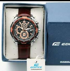 casio edifice watch brown leather belt with box