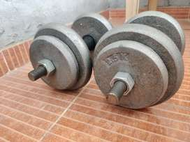 Gym weights cast iron with dumbbells rod 30kg
