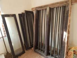 WINDOW TEAK WOOD(2set/Pair)with BRASS ROD as grill-polishing required