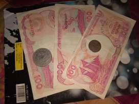 Uang kuno 100 rupiah dan koin kuno