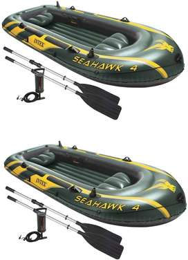 Seahawk 4 Inflatable 4 Person Floating Boat Raft Set with Oars & Air P