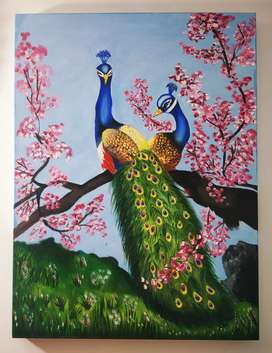 National Love birds painting acrylic on canvas