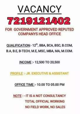 Urgently Graduate required fresher and Experience