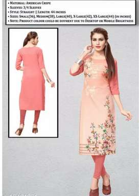 Women's printed stiched straight cut kurti|Free home delivery with COD