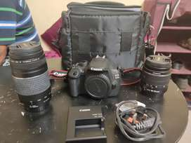 Canon eos1200d with 2 lenses, with bag and charger