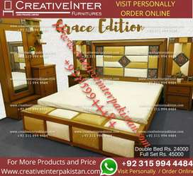 Double bed set eye catching sofa wardrobe Center table dining dressing