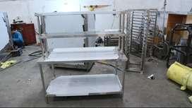 Meja Dapur Stainless Steel Tahan Karat Ukuran 100 x 70 x 80 Cm