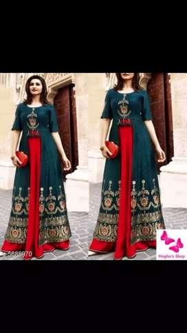 long Rayon Embroidery Dress