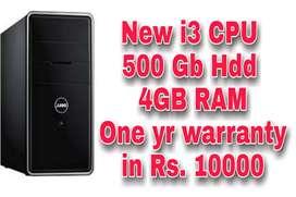 New i3 CPU 50GB Hdd 4 gb RAM ONE YEAR Warranty