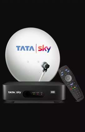 Tata sky set up box with dish and remote