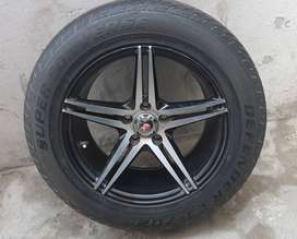 Alloy Rims With Tyres Size 15 Inches, (5 Nuts)