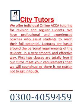 ACCA home tutoring specially for stuck or fresh students