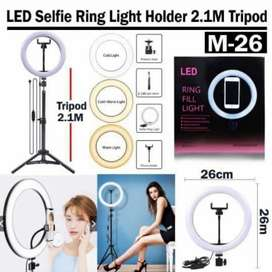 Paket Siap Pakai Ringlight holder tripod 2,1 meter LED Selfie D26