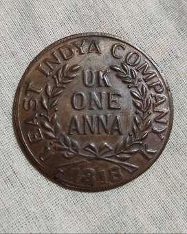 Antique coin- East India Company- UK ONE ANNA-1818 (Durga Maa)