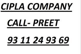 Cipla Global Pharmaceutical, Company hiring fresh and exp.male candida