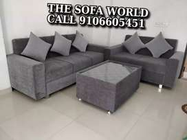 Molfino gold 3+2 seater sofa with center table