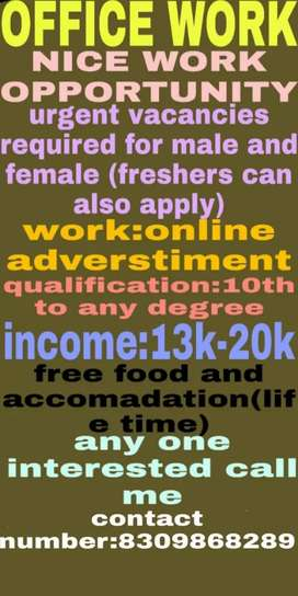 GOOD WORK OPPORTUNITY FOR MALE AND FEMALE