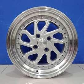 Velg Mobil HSR Wheel Ring 16 Tipe DOBO pcd 4X100 Silver Polis