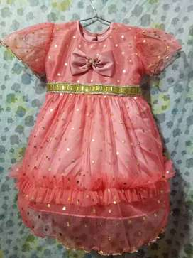 Baby Net Frock with Silk Trouser