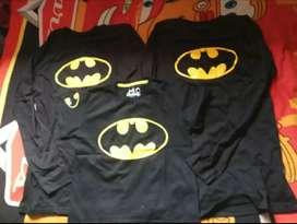 Kaos Family couple motif Batman.. Ayah Ibu uk M lengan panjang & anak.