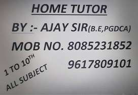 HOME TUTOR FOR ALL SUBJECT  FROM 1st TO 10th