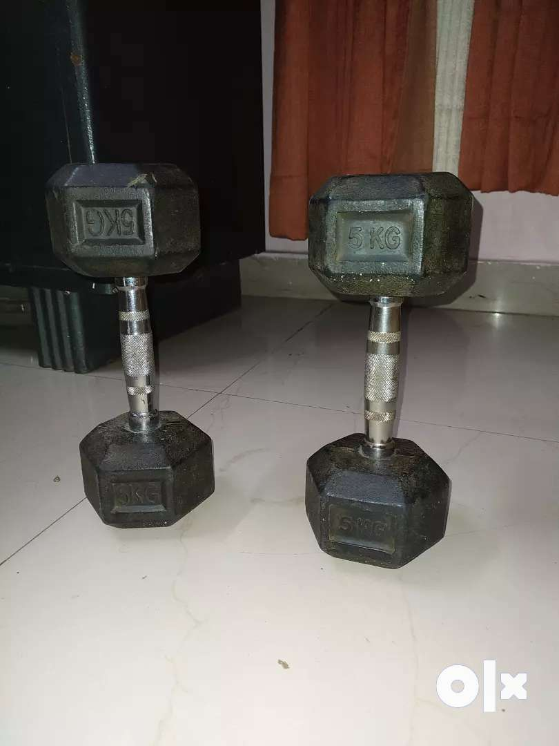 PAIR OF 5KG PVC DUMBELLS AVAILABLE, EXCELLENT CONDITION
