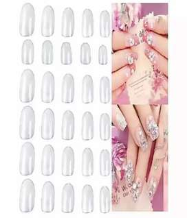 72 pieces of White Artificial Nails Fake_Nails with 6 free glues