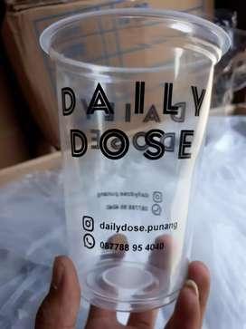 Sablon gelas plastik dengan logo anda CUP PET 24oz