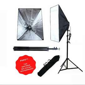 Barang Ready! Paket lighting softbox + light stand termurah