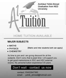 Home tuition available XI and Xii pre enginering new session.