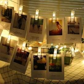 Lampu Hias Dekorasi Clip String 20 LED 2 Meter Warm White
