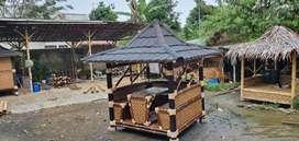 Saung gazebo lesehan resto villa pondok bambu jati belanda kayu
