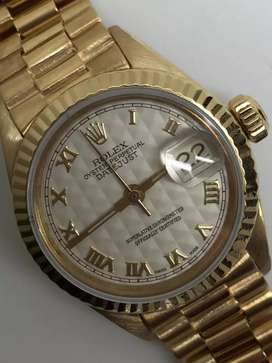 Rolex ladies all gold 18K Rare Pyramid ivory dial