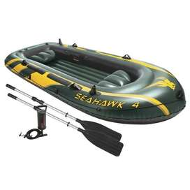 Seahawk 4 Inflatable 4 Person Floatinag Boat Raft Set with Oars & Air