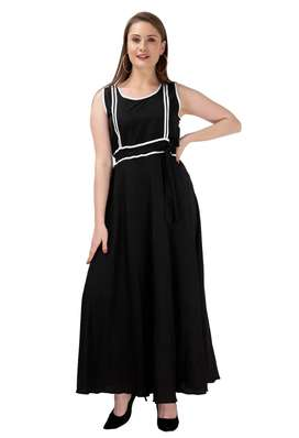 Women's Poly Crepe Solid Maxi Dress
