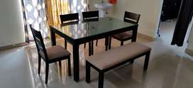 6 seater dining set with 4 chairs bench and glass