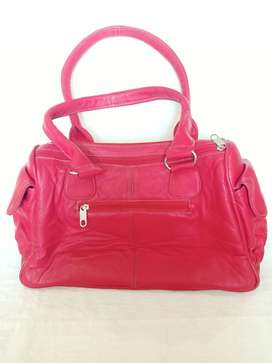 Ladies Leather Hand Bag with Side Pockets