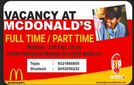 Required Full Time Crew Member at McDonald's Hiranandani Estate