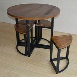 Wood iron table and chair