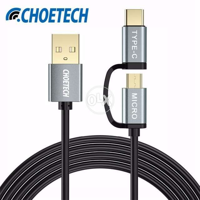CHOETECH 2 in 1 Micro USB + Type C Charging and Data Cable A+ 0