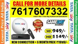 Tata Sky Sd/Hd New Dish Tv Tatasky DTH Airtel Tv (6 Month Free) Dishtv