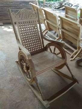 kursi goyang classic roda, kayu jati finis natural, freeongkir