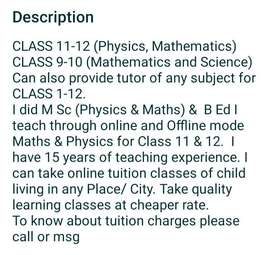 TUITION CLASS- ONLINE  FOR CLASS 9-12 (PHYSICS, MATH'S & SCIENCE)
