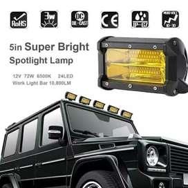 Lampu Sorot Motor Mobil 24 led 72 watt warna kuning anti embun