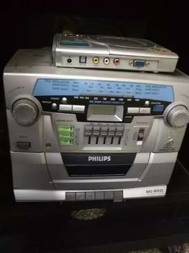 A Philips music system and dvd player