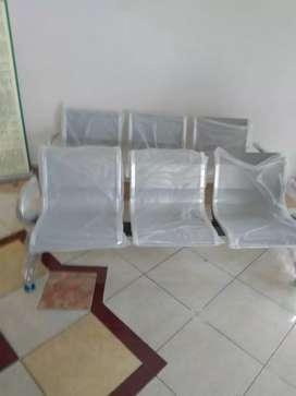 Kursi Tunggu Umum 3 SEAT Sandaran Silver dan Hitam READY Baru