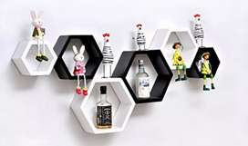 Wall Shelf set of 6(Hexagon)(Black and White)