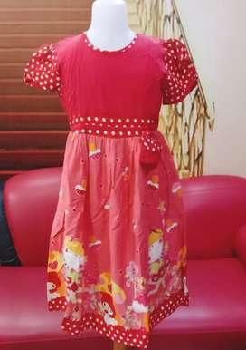 Dress anak panjang Berfuring Kwalitas butik Katun Usia 9 - 12 tahun