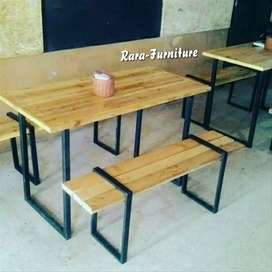 Kursi kayu JATI belanda kombinasi besi ukuran 100X30cm.
